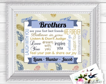 "Personalized / Custom Gift Siblings, Brother, Feathers, Wall Art Sign  8x10"" Any Names, Printed, Family"