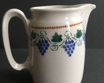 CREAMER Vintage 1940s Bone China Blue Grapes Decor Brown Green Made in Germany