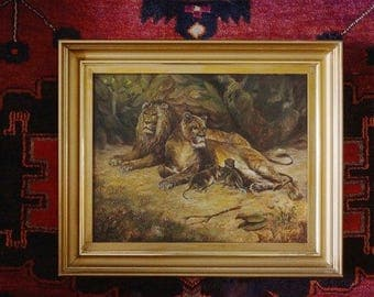 Lions and Cubs Late 19 Century Oil Panting  #31