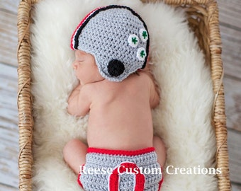 Crochet Ohio State Buckeyes inspired colors Newborn Baby Boy Photo Prop Outfit-Ohio State Hat Ohio State Diaper Cover-3 Week Lead Time