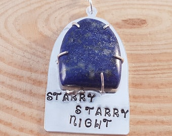 Sterling Silver and Lapis Lazuli Cabochon Stamped 'Starry Starry Night' Necklace