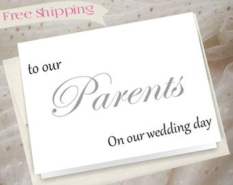 To our parents on our wedding day, wedding card for parents, wedding thank you card, mother of bride, mother of the groom, parents thank you