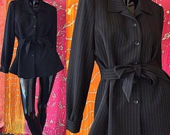 Sale Oscar De La Renta Jacket Wool Jacket Tailored Jacket Pinstripe Blazer Vintage 80s Oscar De La Renta Wool Blazer