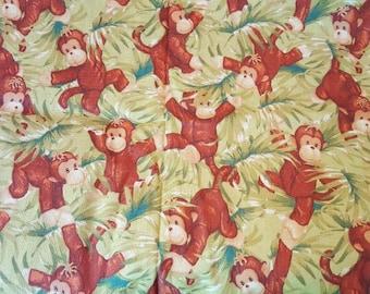 Cotton Fabric, Baby Monkeys, 2 yards