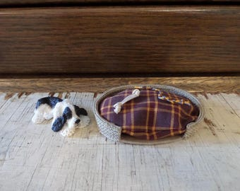 Miniature Dollhouse Dog Bed Handmade