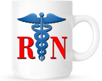 RN Coffee Mug - Nurses Coffee Mug, Gift Idea for a Nurse, Registered Nurse, Coffee Lover