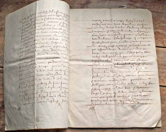 Vintage antique French 17th century parchment (real animal skin) document  8pages  / 17th century hand written letter