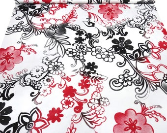 Fabric viscose Jersey flowers vines print white black red