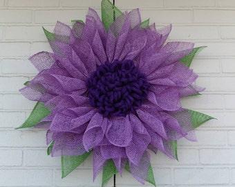 Dark Purple and Lavender Poly Burlap Sunflower Wreath