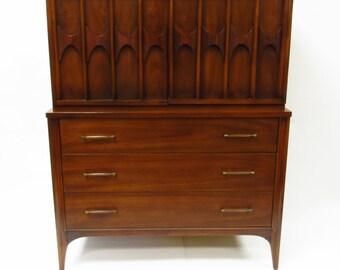 Mid Century Modern Kent Coffey Highboy Perspecta Dresser - 1960s - Walnut