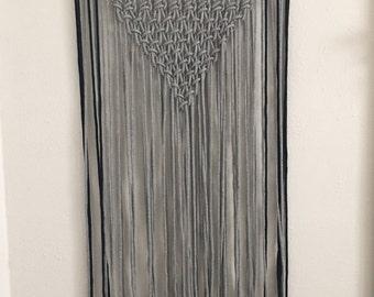 Handwoven Macrame Wall Hanging, grey and navy