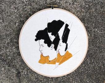 Finished artwork - Hoop Art - Abstract Portrait - African American Art - Feminism - Modern Art - Wall Hanging - Gold Details