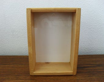 Wood Rustic Storage Display Box With Clear Plastic Sliding Door