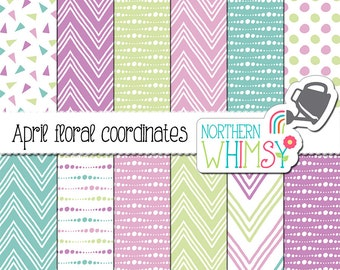 """Geometric Digital Paper - """"April Floral Coordinates"""" - polka dots, triangles, and chevron in purple, mint, and pastel blue - commercial use"""