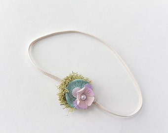 Newborn Floral Headband, Easter Headband, Purple Flower Headband, Woodland Headband, Moss, Petitie