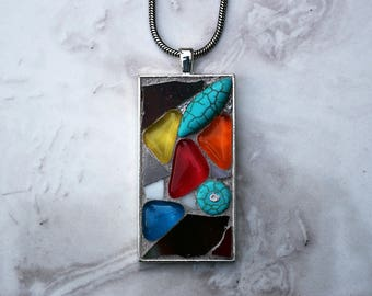 Mosaic Pendant with Stained Glass and Beads