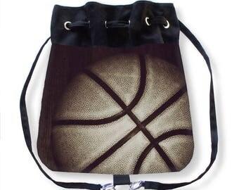 Basketball Tote Bag-Basketball Backpack-Canvas Tote-Overnight Bag-Travel Tote Bag-Sports Tote-Messenger Bag-Cinch Bag-Basketball Cinch Sack