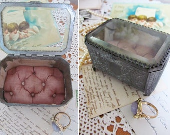 Adorable petite antique French casket~Very decorative metalwork~Plump silken cushioned base~Bevelled glass lid~Wedding ring holder?