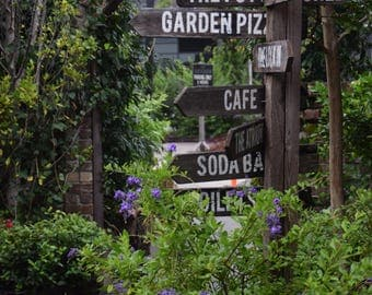 Garden Sign, Vintage Wooden Signpost Photography Restaurant Photo Cafe The Grounds