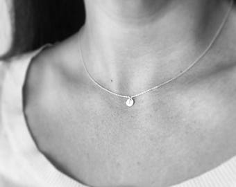 Tiny disc necklace - personalised necklace, rose gold filled - gold necklace, sterling silver, initial necklace - bridesmaid jewelry