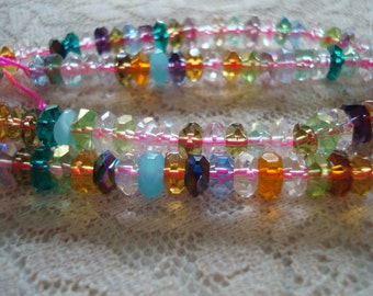 Rough-Faceted Rainbow Glass Rondelles. 6x3mm Gemstone-Cut Assorted Color Beads. (Jade, Translucent, and Plated Etc)  ~USPS Ship Rates/Oregon