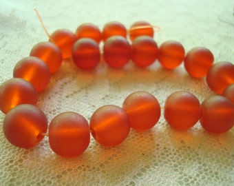 Firebrick Red Imitation Sea Glass Beads. Mixed Lot! 12mm/16pcs + 10mm/20pcs  Painted, Faux-Frosted, Red-Orange Rounds  ~USPS Ship Rates/OR
