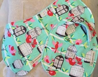 Birds Bib and burpie set, baby girl gift, baby shower gift