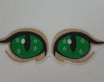 Large cat eyes iron on or sew on patch Cat eyes patch Eyes iron on patch Eyes sew on patch Eyes applique Patch eyes Cat patch Eyes patch