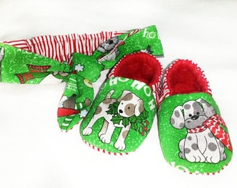 Ready to ship,Christmas Soft sole shoes,Christmas Puppies,Red Green baby slippers