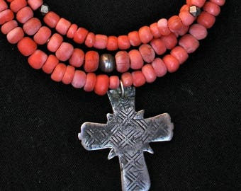 Ethiopian,Cross,Necklace,Summer,Jewelry,Beads, Handmade