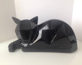 Black Ceramic Cubist Cat/Sculpture/Vanguard Studios
