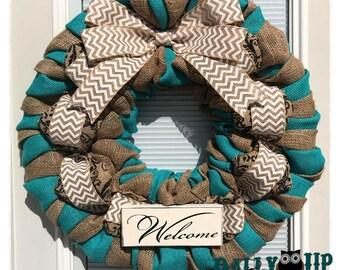 Turquoise Decor Burlap Wreath, Welcome Wreath,  turquoise Wreath, Summer Wreath, Wreath, Summer Wreath, Spring Wreath, Spring Decor