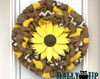 Flower Wreath - Flower Spring Wreath - Yellow Wreath - Door Decor -  Summer Decor -  Front Door Wreath  -  Yellow Wreath - Everyday Wreath
