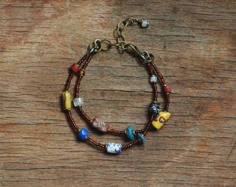 Trade bead bracelet with collection of antique Venetian beads