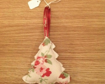tree decorations, single or set of three,   christmas tree decorations, Rosalie fabric  tree decoration, Christmas in July