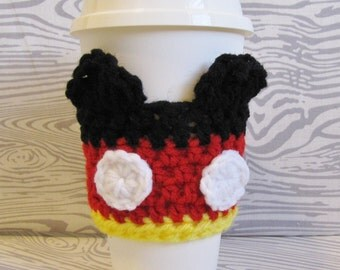 Mickey Mouse Cup Cozy, Crochet Sleeve, Drink Holder, Crochet, Disney, Hot or Cold Beverage, Birthday Gift, Cup Warmer, Reusable Cup Cozy