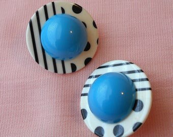 Retro 1950s Polka Dot Dome Earrings Blue White Black Lines Dots Resin for Pierced Ears
