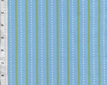Springs Creative Bright Owl Dots Stripe Blue Fabric