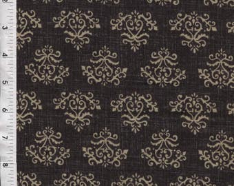 "Red Rooster Abigail ""Teachers Pet"" Damask Scrolls Black Fabric"