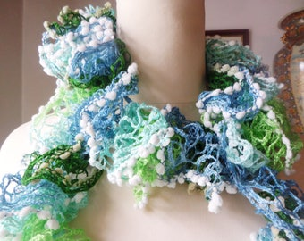 Lacy crochet scarf, blues and greens, long boa style, bobble edging, evening  scarf, summer wrap, fashion boa scarf, hand crochet,
