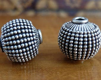 Two Granulated Sterling Silver Balinese Beads