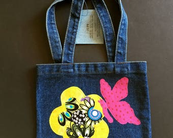 "Girl's Denim Purse, Size: 10""x7""x3"" excluding handles, flower and butterfly appliques, all cotton, great for anytime/spring/summer/everyday"
