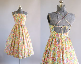 Vintage 1970s Dress / 70s Cotton Dress / Lanz Originals Coral and Yellow Floral Dress w/ Open Back S