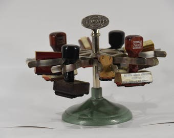 """Vintage """"Standard"""" Rubber Stamp Carousel for Industrial Shop Home Office Desk Display with Stamps"""