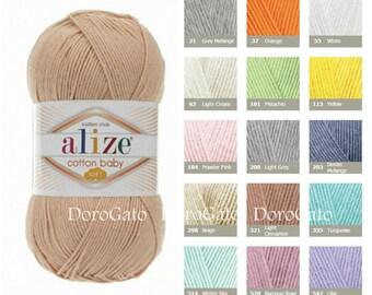 Alize cotton baby soft, baby yarn, Cotton yarn, Acrylic yarn, Soft yarn, Cardigan, Sweater, Blouse, Shawl, turkish yarn