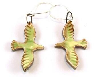 Yellow/Green Flying Bird Sterling Silver Ceramic Earrings