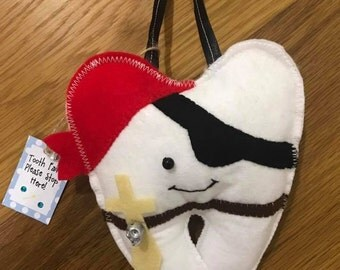 Tooth fairy pillow - Pete the Pirate Tooth Fairy cushion - personalised tooth pillow
