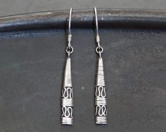 Silver Earrings, Silver Drops, Balinese Earrings, Detailed Earrings, Everyday Earrings, Sterling Silver, Bali Jewellery, Oxidised Silver