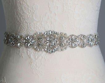 Long Silver Bridal Sash, Wedding Sash, Bridal Belt, Sash Belt, Wedding Dress Belt, Crystal Rhinestone Belt, Crystal Wedding Belt
