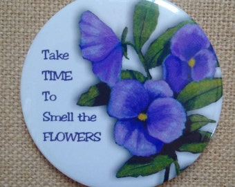Take Time to Smell the Flowers, Round MAGNET, Pansies, Purple Pansy Flowers, Original Color Pencil Art, Three Inch Magnet